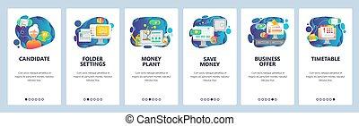sito web, web, onboarding, development., illustration., affari, appartamento, mobile, soldi, app, orario, offerta, luogo, vettore, albero, screens., disegno, sagoma, menu, deadline., bandiera
