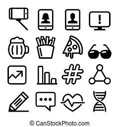 sito web, web, progetta, tecnologia, appartamento, icone, medico, -, cibo, collezione, selfie, disegno, linea, navigazione, icona
