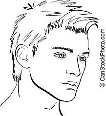 sketch., faccia, vettore, disegnare elemento, uomo