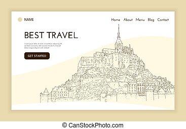 sketching., pagina, template., turismo, presentation., saint-michel., arte, concept., mont, francia, illustration., atterraggio, silhouette., linea, città, vettore, viaggiare