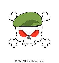 skull., testa, cranio, esercito, berretto, segno, terribile, basco, militare, soldati, emblem., abbigliamento