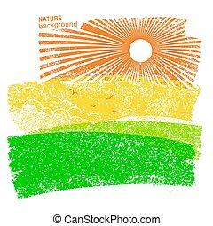 sky., campi, natura, fondo, sole, paesaggio