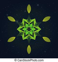 sky., flamy, stellato, simbolo, geometrico, esagonale