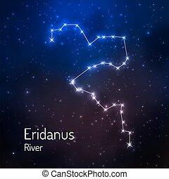 sky., stellato, illustrazione, vettore, notte, costellazione