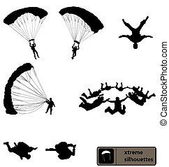 skydiving, silhouette, collezione