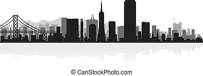 skyline città, francisco, silhouette, san
