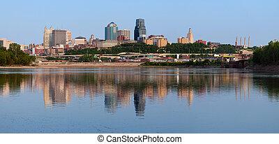 skyline città, kansas, panorama.
