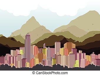 skyline città, montagne