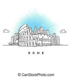 skyline città, roma, colosseo