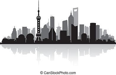 skyline città, sciangai, porcellana, silhouette