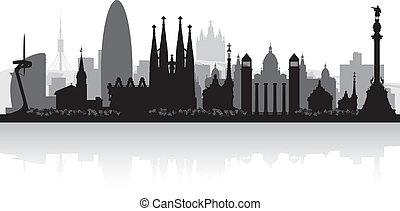 skyline città, silhouette, barcellona, spagna