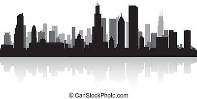 skyline città, silhouette, chicago