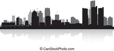 skyline città, silhouette, detroit