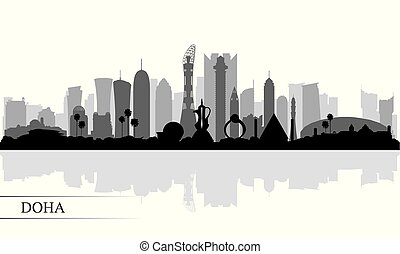 skyline città, silhouette, doha, fondo