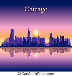 skyline città, silhouette, fondo, chicago