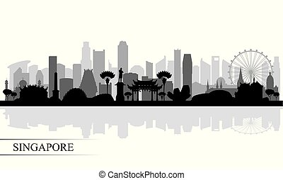 skyline città, silhouette, fondo, singapore