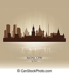 skyline città, silhouette, mosca, russia