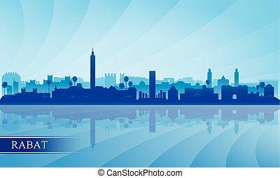 skyline città, silhouette, rabat, fondo