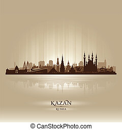 skyline città, silhouette, russia, kazan