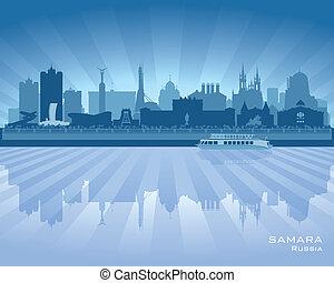 skyline città, silhouette, russia, samara
