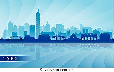 skyline città, silhouette, taipei, fondo