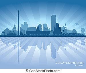 skyline città, silhouette, yekaterinburg, russia