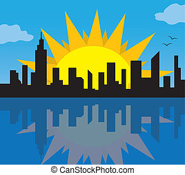 skyline città, sole