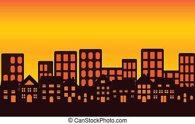 skyline città, tramonto