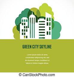 skyline città, verde, icona