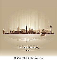 skyline città, vladivostok, silhouette, russia