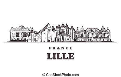 skyline., mano, vettore, illustration., disegnato, lille, schizzo, francia