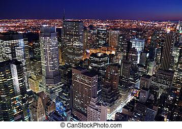 skyline urbano, aereo, veduta città