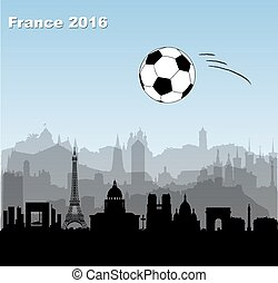 skylines, città, palla, francia, football calcio, /