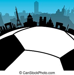 skylines, città, palla, francia, fotball