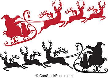 sleigh, renna, santa