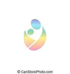 sling bimbo, vettore, sling., logotype, child., logotipo, abbracciare, allattando, uomo, il portare, arcobaleno, paternità