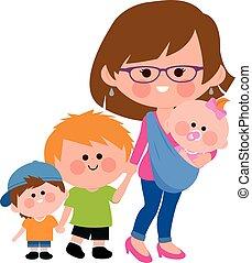 sling., camminare, illustration., lei, vettore, madre, bambino, bambini