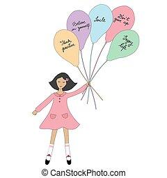 slogan, ragazza, presa a terra, positivo, cartone animato, palloni