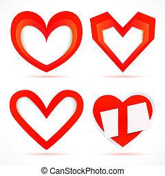 slot, forma, cornice, carta, vettore, hearts., adesivi, schede.