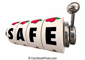 slot, quadranti, rischio, sicuro, illustrazione, macchina, sicurezza, ruote, sicurezza, 3d