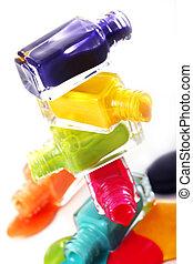 smalto per unghie, rovesciato, bottiglie