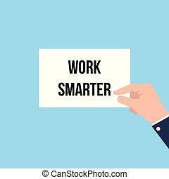 smarter, esposizione, lavoro, carta, testo, uomo