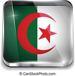smartphone, algeria, bottoni, domanda, bandiera, quadrato