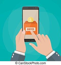 smartphone, application., donare, tenendo mano