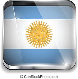 smartphone, bottoni, domanda, bandiera, quadrato, argentina