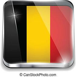 smartphone, bottoni, domanda, bandiera, quadrato, belgio