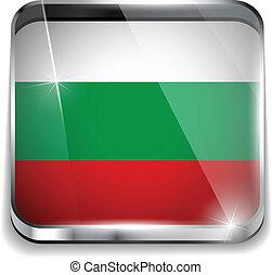 smartphone, bottoni, domanda, bandiera, quadrato, bulgaria