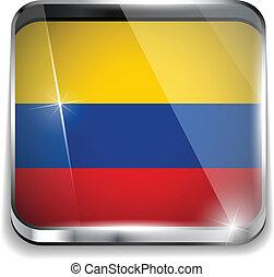 smartphone, bottoni, domanda, bandiera, quadrato, colombia