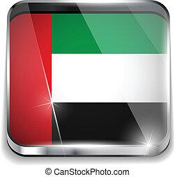 smartphone, bottoni, domanda, bandiera, quadrato, emirati