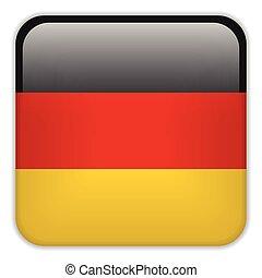 smartphone, bottoni, domanda, bandiera, quadrato, germania